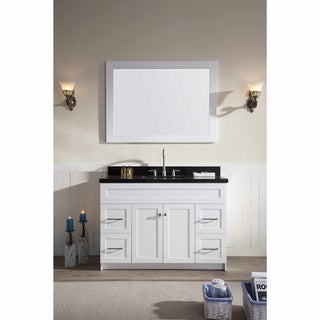 ARIEL Hamlet 49-inch White Single-sink Vanity with Absolute Black Granite Top