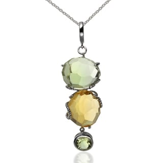 Sterling Silver Citrine and Prasiolite Pendant