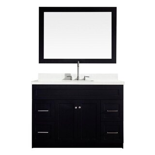 "Hamlet 49"" Single Sink Vanity Set with White Quartz Countertop in Black"
