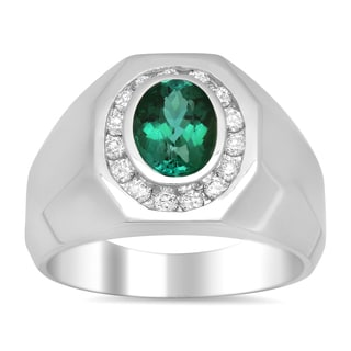 14k White Gold 1/2ct TDW Diamond and 2ct TGW Green Tourmaline Ring (E-F, SI1-SI2)