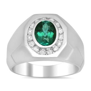 14k White Gold 1/2ct TDW Diamond and 2ct TGW Green Tourmaline Ring (E-F, SI1-SI2)