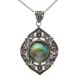Sterling Silver 16mm Abalone Quartz Doublet and Amethyst Pendant