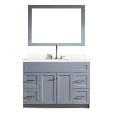 Hamlet 49-inch Single Sink Vanity Set with White Quartz Countertop in Grey