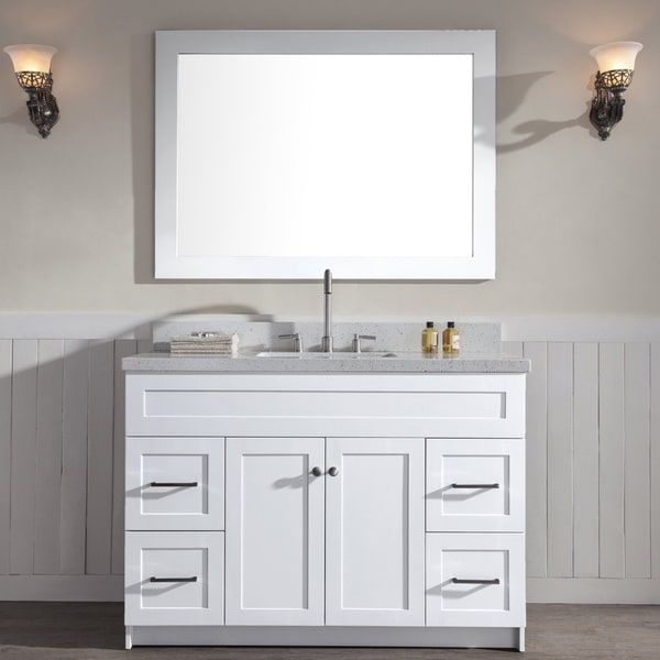 "Shop Hamlet 49"" Single Sink Vanity Set With White Quartz Countertop In White"