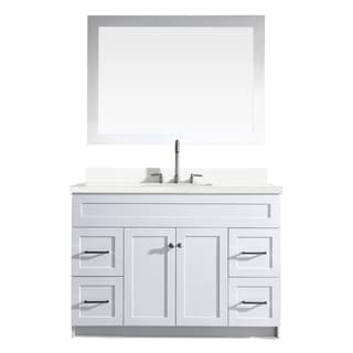 "Hamlet 49"" Single Sink Vanity Set with White Quartz Countertop in White"