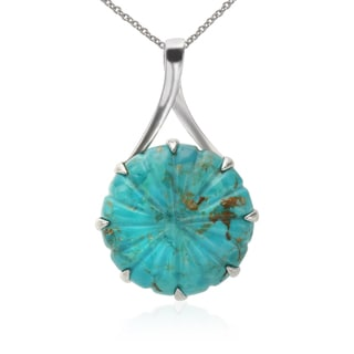Sterling Silver 40mm Round Turquoise Circle Pendant