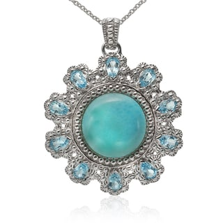 Sterling Silver Larimar and Swiss Blue Topaz Flower Pendant