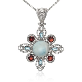 Sterling Silver Larimar, Blue Topaz and Garnet Pendant