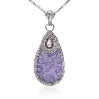 Sterling Silver Purple Jade and Amethyst Pendant