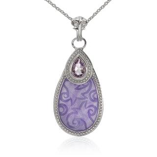 Sterling Silver Purple Jade and Amethyst Pendant