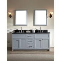 ARIEL Hamlet 73-inch Grey Double Sink Vanity with Absolute Black Granite Top