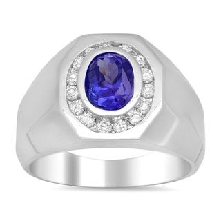 14k White Gold 1/2ct TDW Diamond and 2ct TGW Tanzanite Ring (E-F, SI1-SI2)