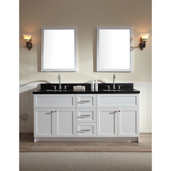 Shop ARIEL Hamlet 73-inch White Double-sink Vanity with ...