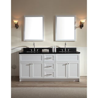 ARIEL Hamlet 73-inch White Double-sink Vanity with Absolute Black Granite Top