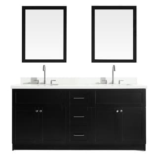 Hamlet 73-inch Black Double-sink Vanity with White Quartz Top