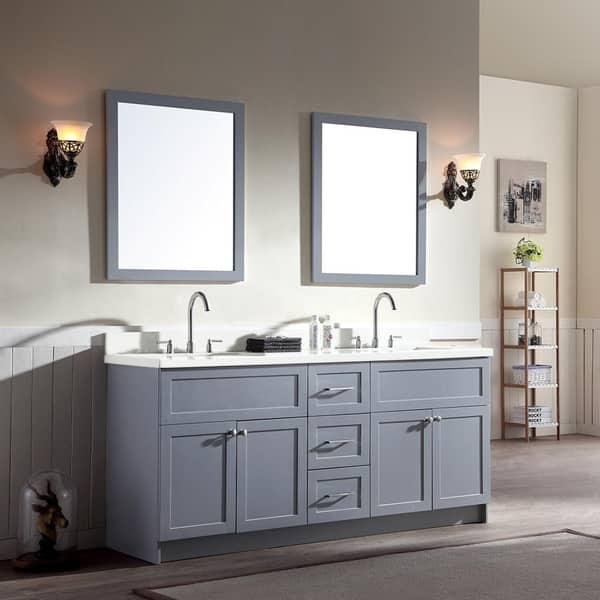 Shop Hamlet 73 Double Sink Vanity Set With White Quartz