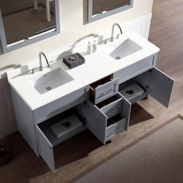 Shop Hamlet 73 Double Sink Vanity Set With White Quartz Countertop In Grey Overstock 11007070