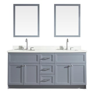 "Hamlet 73"" Double Sink Vanity Set with White Quartz Countertop in Grey"