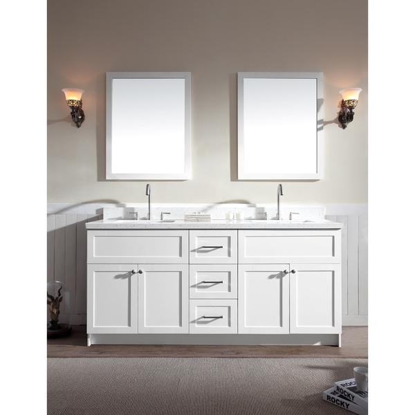 Double Sink Vanity White : Hamlet-73-Double-Sink-Vanity-Set-with-White-Quartz-Countertop-in-White ...