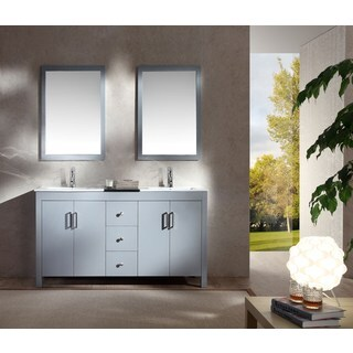 ARIEL Hanson 60-inch Grey Double-sink Vanity Set