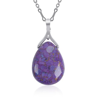 Sterling Silver Purple Mohave Turquoise Gemstone Pendant