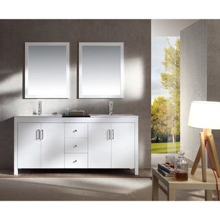 ARIEL Hanson 72-inch White Double-sink White Vanity Set