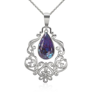 Sterling Silver Purple Kingman Turquoise Scrollwork Pendant
