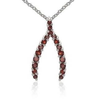 Sterling Silver Round Garnet Gemstone Wishbone Pendant
