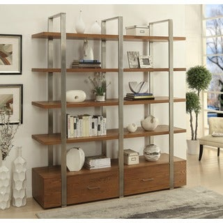 Christopher Knight Home Wood and Steel Two Drawer Bookcase