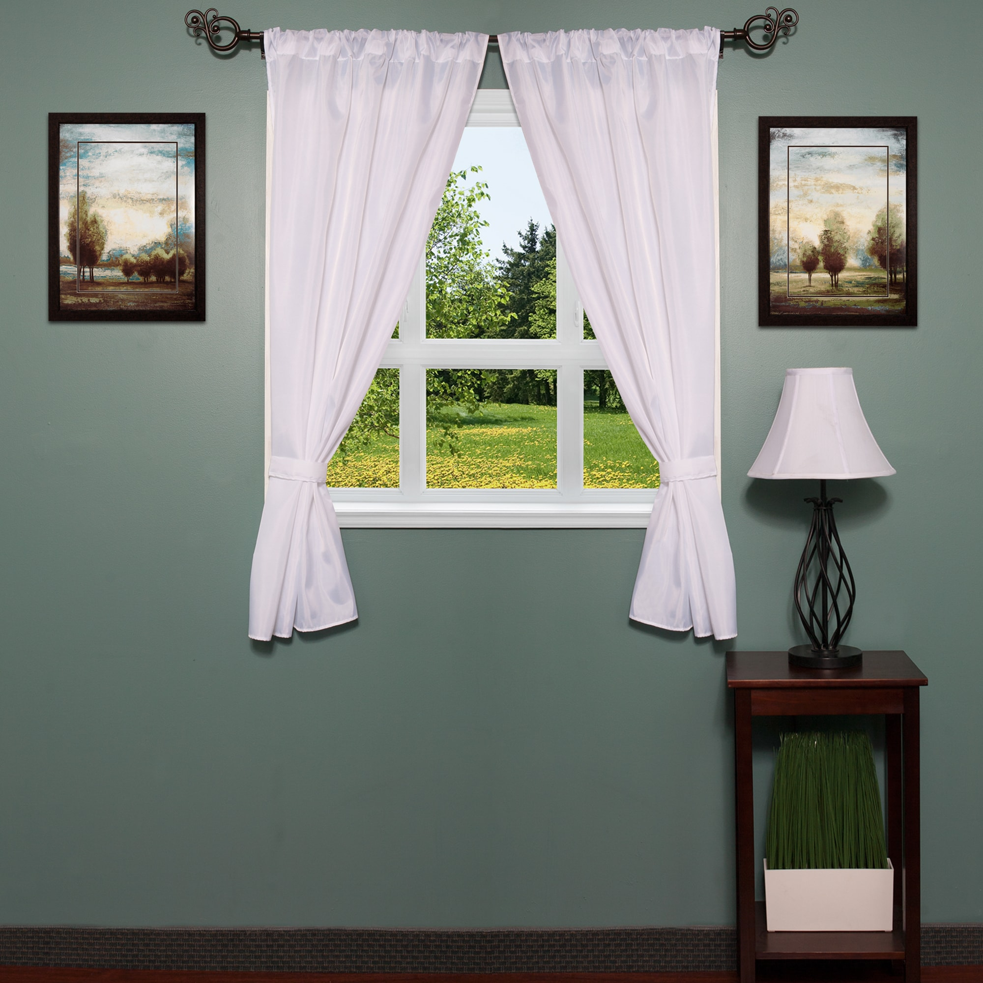 Classic Hotel Quality Solid White Water Resistant Fabric Bathroom Window Curtain Set With Tiebacks 36 X 54 Overstock 11007115
