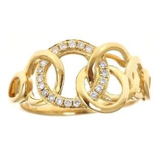 Anika and August 18k Yellow Gold 1/6ct TDW Round Diamond Ring (G-H, I1-I2)
