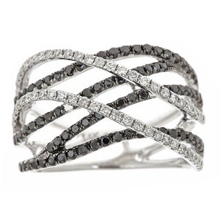 Anika and August 14k White Gold 1ct TDW Black and White Diamond Ring