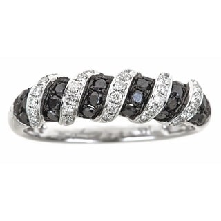 Anika and August 14k White Gold 5/8ct TDW Black and White Diamond Ring (G-H, I1-I2)