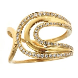Anika and August 18k Yellow Gold TDW Round White Diamond Ring (G-H, I1-I2)