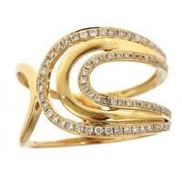 Anika and August 18k Yellow Gold TDW Round White Diamond Ring
