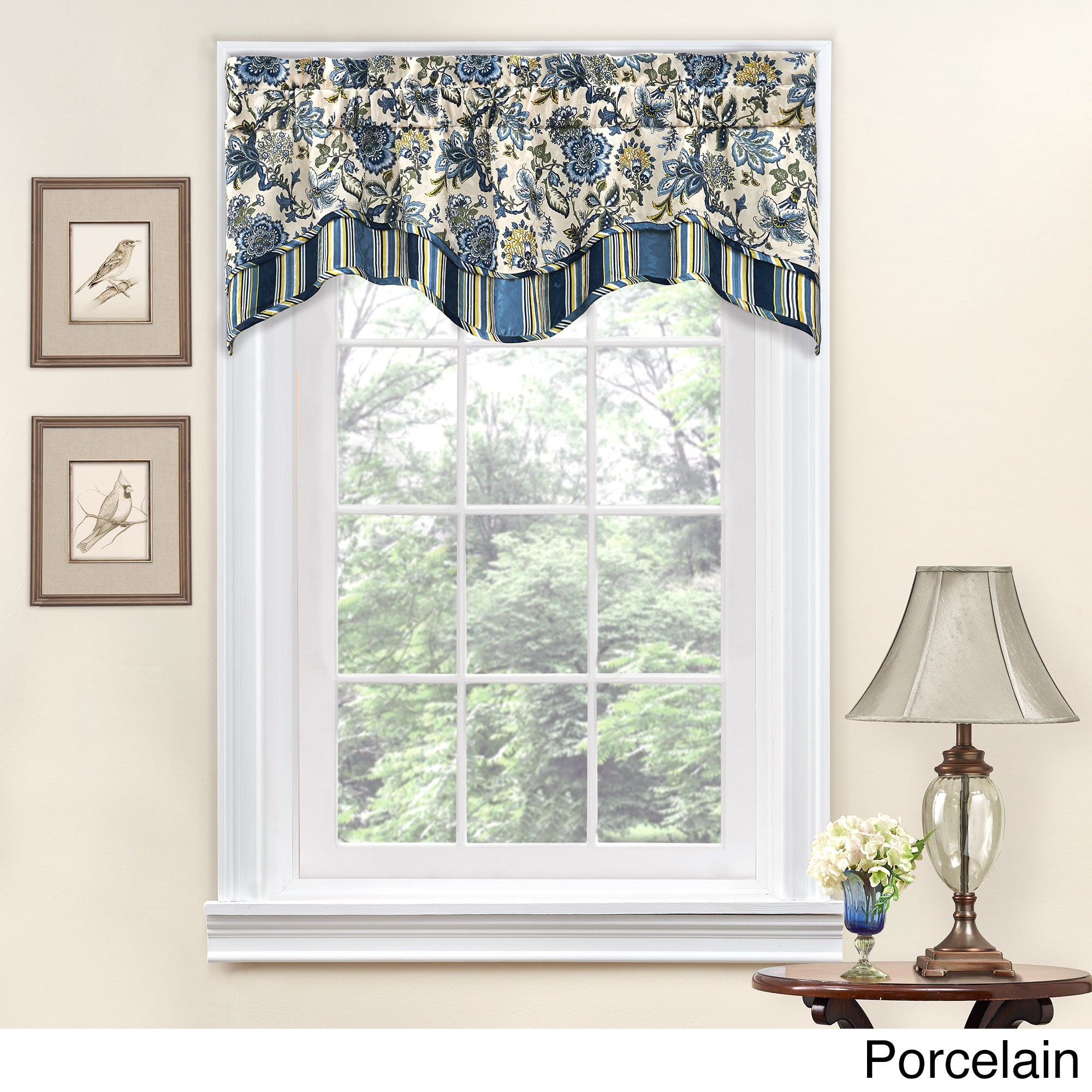 Traditions by Waverly Navarra Floral Window Valance (52x1...