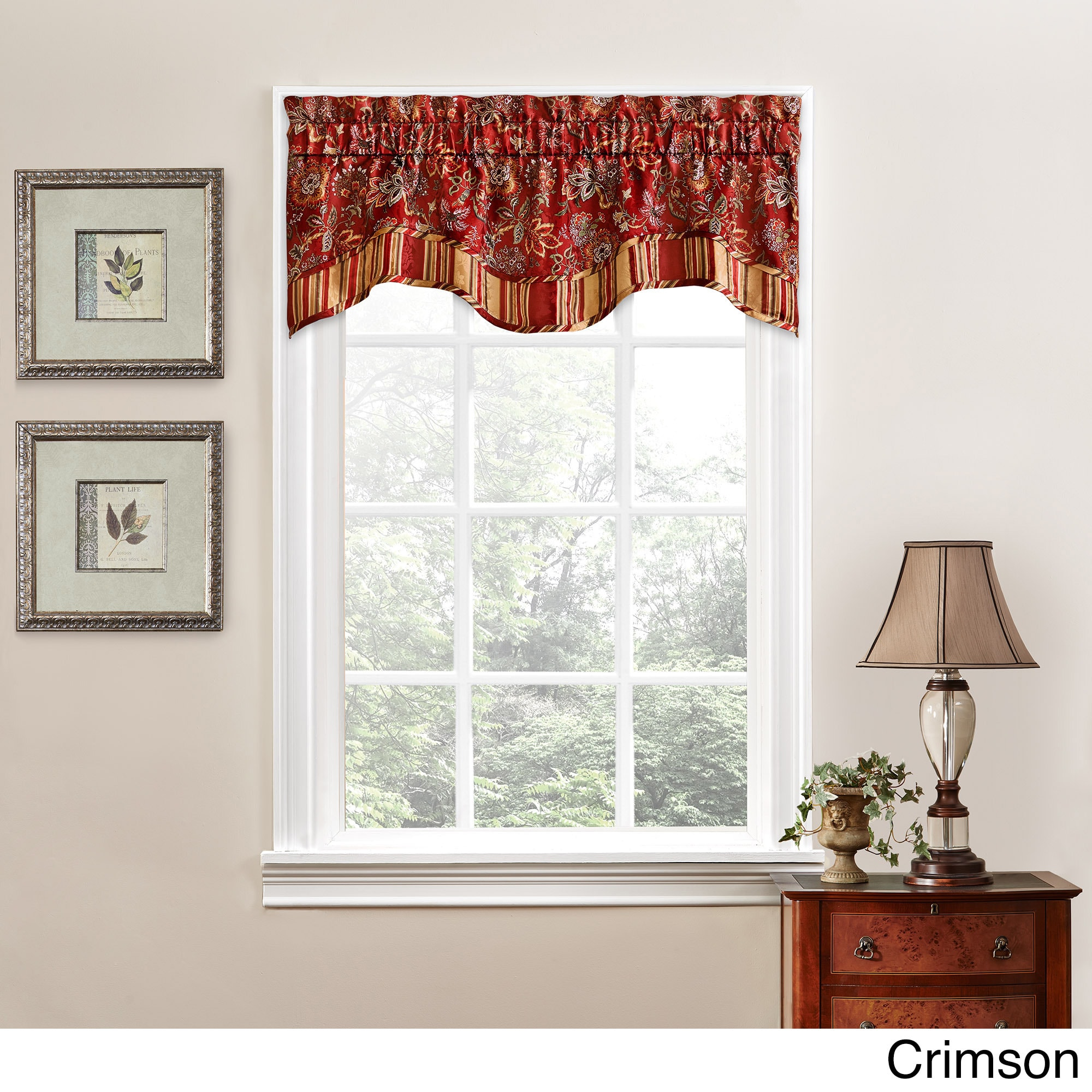 Traditions by Waverly Navarra Floral Window Valance (Crim...
