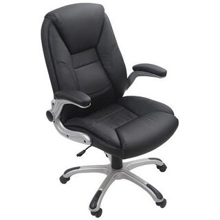 Black Adjustable Height Bonded Leather Office Executive Chair
