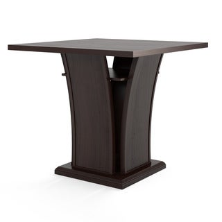 Bistro Counter Height Cappuccino Dining Table with Curved Base