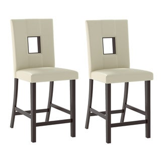 CorLiving Bistro Dining Chairs in White Leatherette, Set of 2