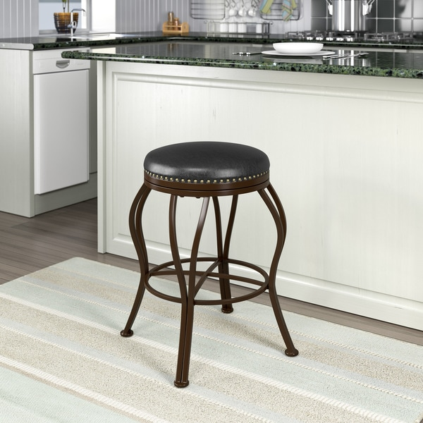 shop metal counter barstool with brown leather seat free shipping today 11007161. Black Bedroom Furniture Sets. Home Design Ideas