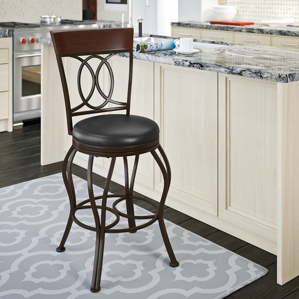 Shop Metal Counter Barstool With Brown Leather Seat Free
