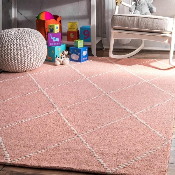 The Gray Barn Ben Handmade Wool Trellis Baby Pink Area Rug 5