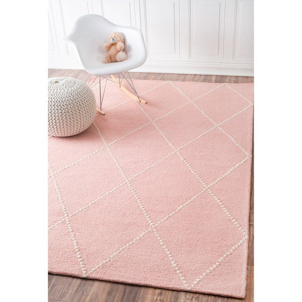 nuloom handmade dotted trellis wool kids nursery baby pink rug 5 39 x 8 39 free shipping today. Black Bedroom Furniture Sets. Home Design Ideas
