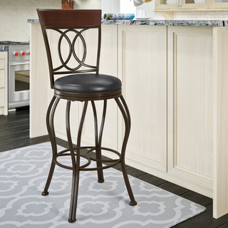 CorLiving Dark Brown Jericho Metal and Bonded Leather Bar Height Swivel Bar Stool