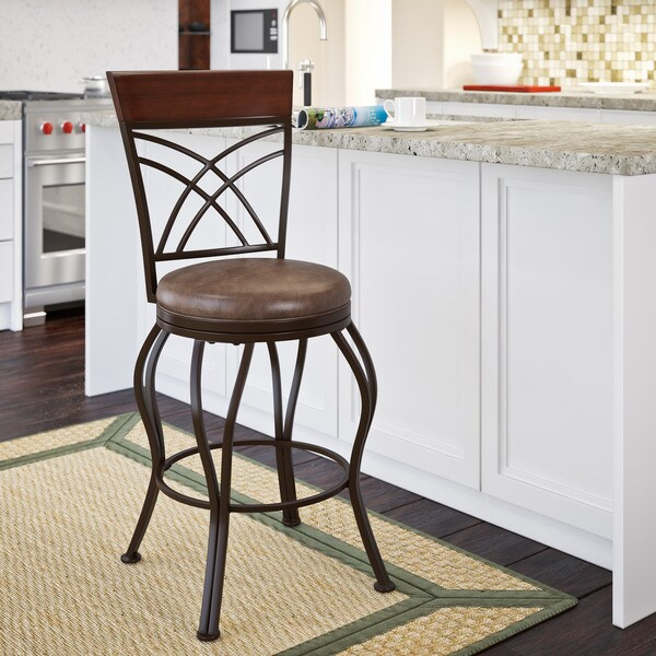 corliving jericho rustic brown metal and bonded leather counter height bar stool free shipping. Black Bedroom Furniture Sets. Home Design Ideas