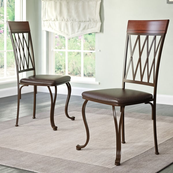 Brown Leather Maxwell Metal Dining Chair: CorLiving Jericho Dark Brown Bonded Leather And Metal