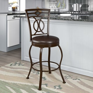 Metal Counter Barstool with Brown Leather Seat
