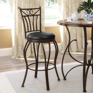 CorLiving Jericho Glossy Dark Brown Metal and Bonded Leather Counter Height Fretwork Bar Stool