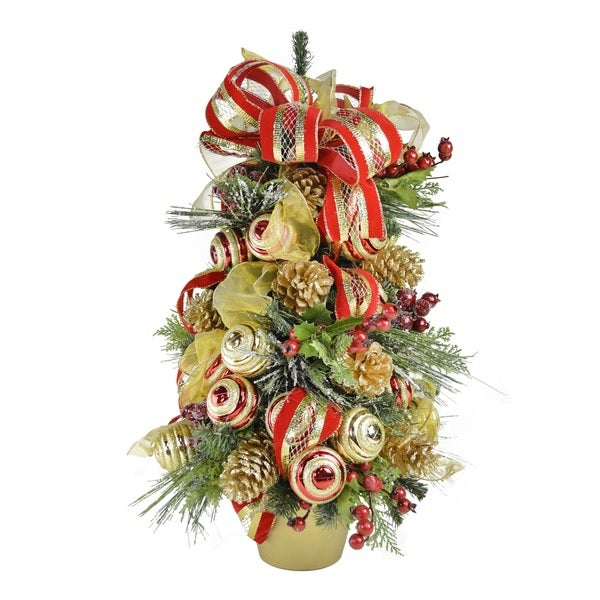 2 Ft. Red and Gold Decorated Holiday Tree